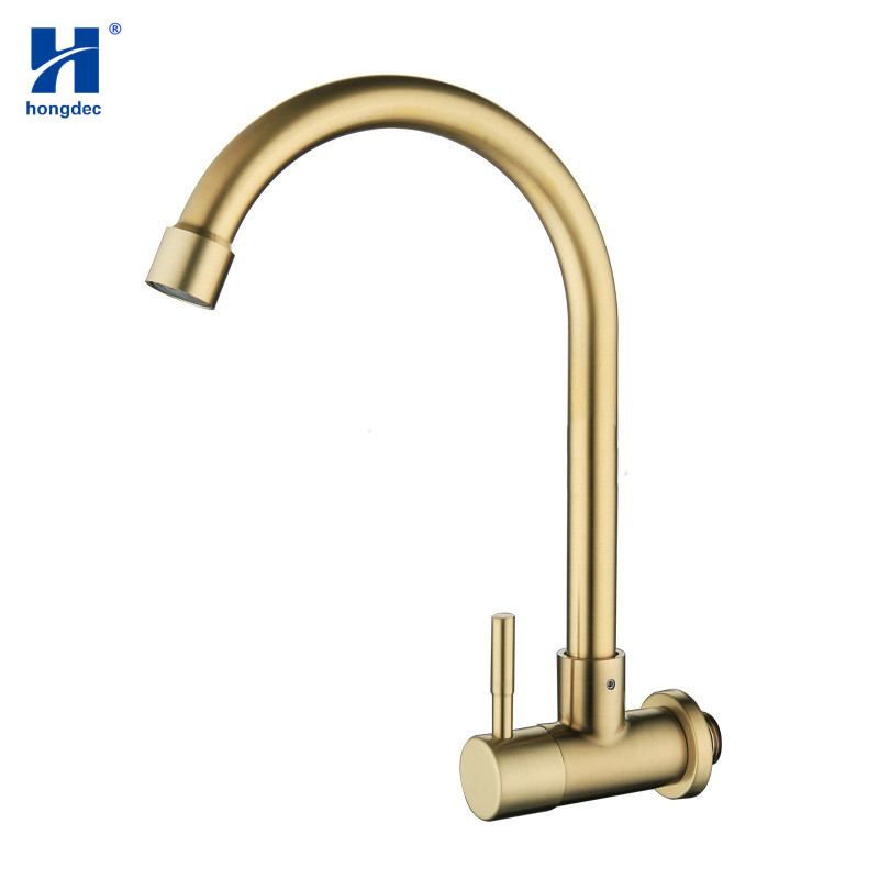 Hongdec Brushed Gold Single Cold Water Faucet  Single Handle Kitchen Faucet Bathroom Sink Tap