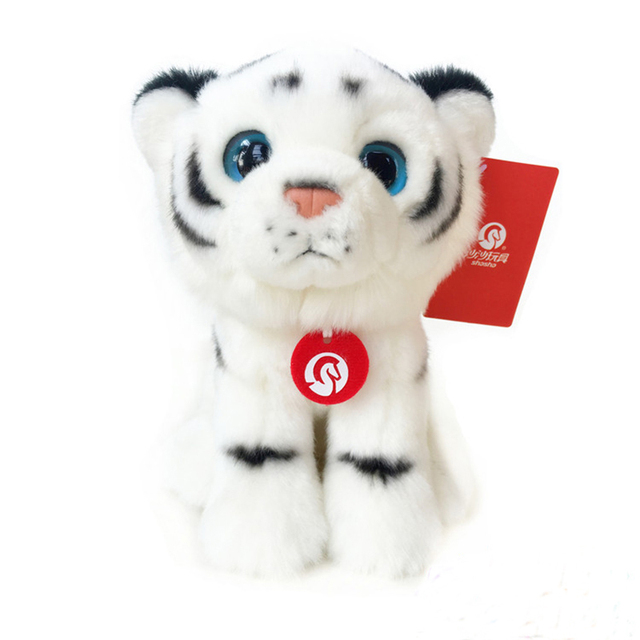 Soft Baby White Tiger Stuffed Animal Toys 19cm Simulation Tiger