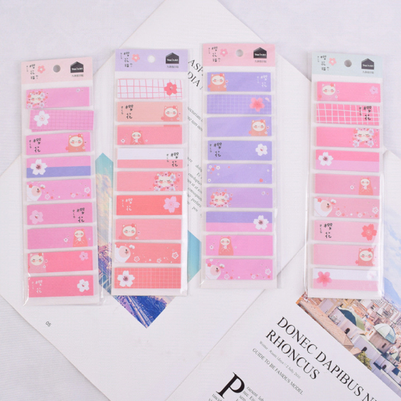 1 Pack/lot Kawaii Sakura & Cat Memo Pad Sticky Notes Notepads Student Paper Stationery School Office Supply