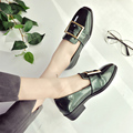 2017 Spring Leather Square Toe Casual Low Heel Shoes British Style Metal Buckle Low Heel Pumps