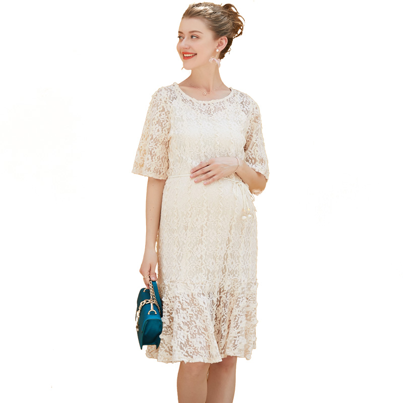 Europe New 2018 Summer Pregnant Women Fashion Loose O Neck Short Sleeve Hollow Out Lace Dress 2 Piece Set Maternity Clothes Hot alc f49s