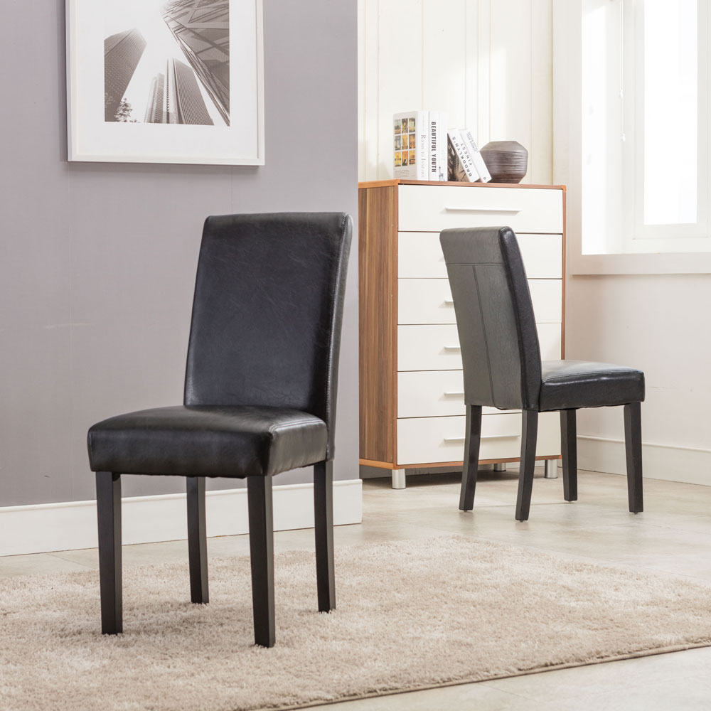 Modern Dining Chair 2pcs Faux Leather Contemporary Dining Furniture Dropshipping
