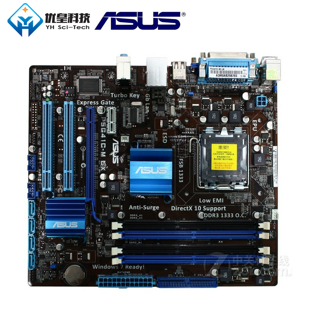 Asus P5G41C-M lx intel g41 original usado desktop placa-mãe soquete lga 775 q8200 q8300 ddr2/3 8g u atx
