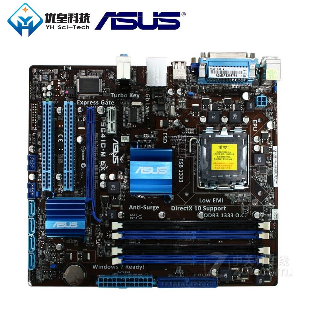 Original Used Desktop Motherboard Asus P5G41C-M LX G41 Socket LGA 775 Q8200 Q8300 DDR2/3 8G U ATX