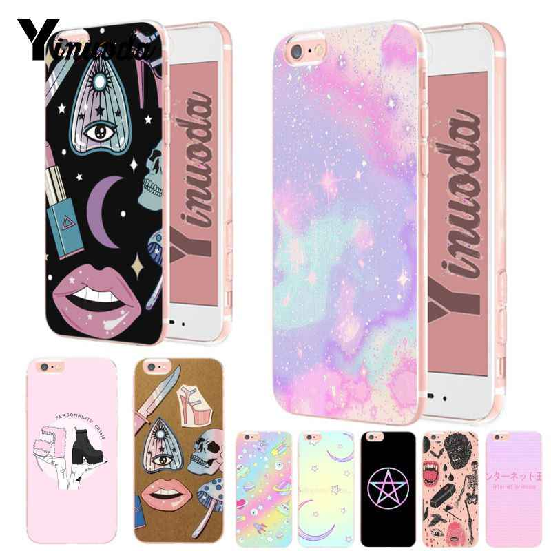 Yinuoda Girly Pastel Witch Goth Unique Luxury transparent soft tpu phone case for iPhone 8 7 6 6S Plus X XS XR XsMax 5 5S case