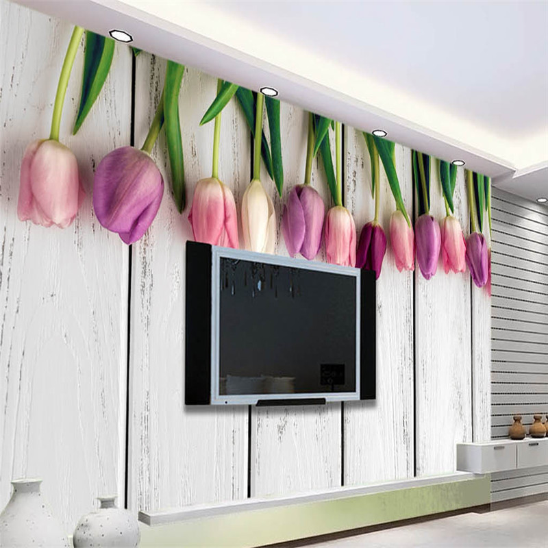 panel de pared papel pintado retro de madera blanca tulipanes fondo moderno europa arte decoracin para