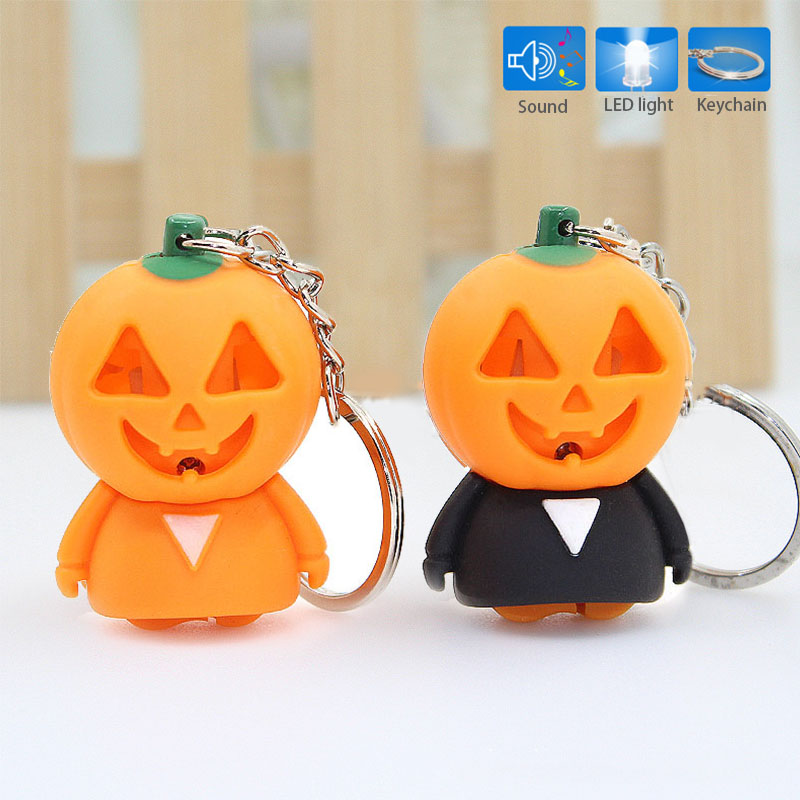 Halloween Pumpkin Ghost Gift Keychain With LED Light Sound Key Holder Bag Pendant Outdoor Sports Camping Self Defense Tools DF