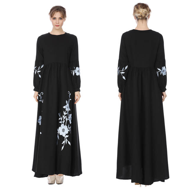 9a42deaeef7b4 US $18.59 7% OFF|HANZANGL New Muslim Women Chiffon Long Sleeve Dress Middle  Eastern Embroidered Dress Casual Vintage Long Robe-in Dresses from Women's  ...
