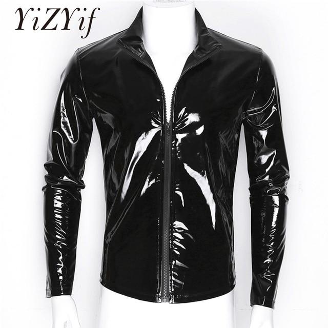 YiZYiF Men Shiny Kim Loại Front-Zip Cổ Áo Đứng Tops Wet Look Sexy Bằng Sáng Chế Da Phong Cách Hộp Đêm Dài Tay Áo Tops cho Nam Giới