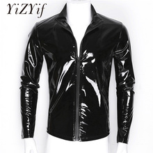 YiZYiF Men Shiny Metallic Front-Zip Stand Collar Tops Wet Look Sexy Patent Leather Nightclub Style Long Sleeve Tops For Men