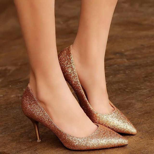Women Wedding Shoes Silver Gold Dress Shoes Pointed Toe Woman Sequined Cloth High heels Glitter Pumps Boat Shoe Spring Q032