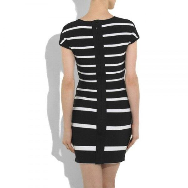 Fashion Women Sexy Dress Club Wear Khloe Kardashian Geometric Jacquard Dress  New Black White Stripes Bandage Dress-in Dresses from Women s Clothing on  ... cf888083d271
