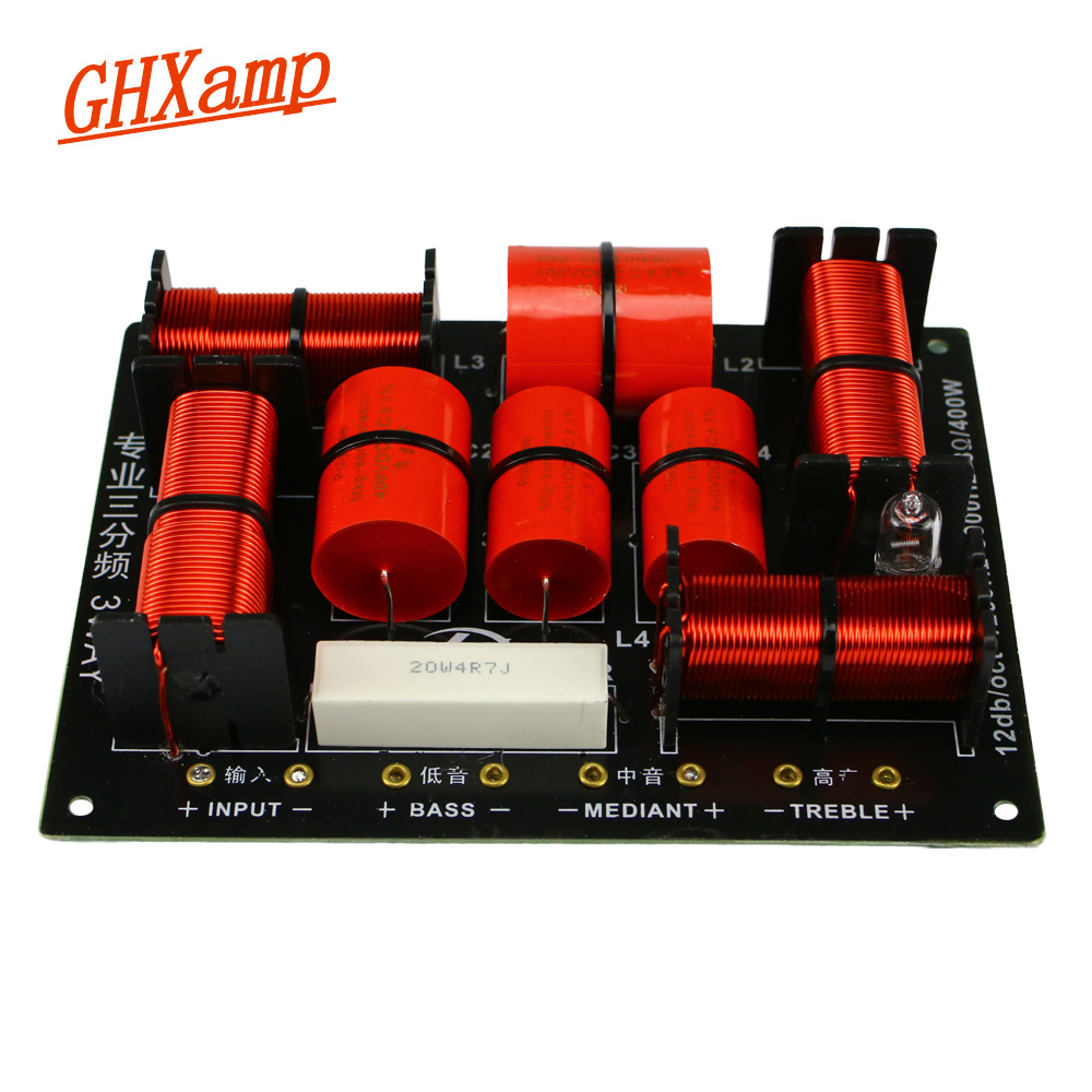 GHXAMP 400W 3 Way Crossover Hifi Tweeter Midange Woofer Speaker Crossover 1250H/5000HZ With High-pitched Protection 1PC