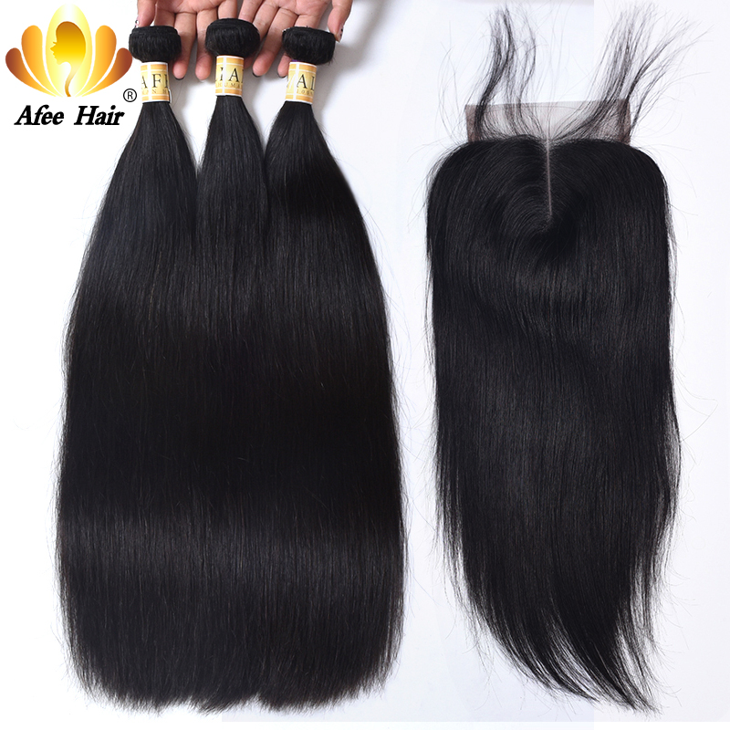 Aliafee Hair Raw Indian Straight Hair Weave 3 Bundles Deal Indian Hair Bundles With Closure 100