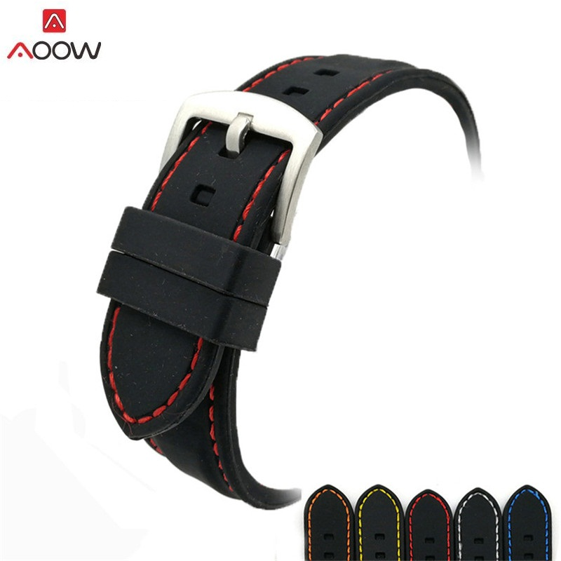 AOOW Generic Watchband Silicone Rubber Watch Strap Bands Waterproof 20mm 22mm 24mm 26mm Watches Belt цена