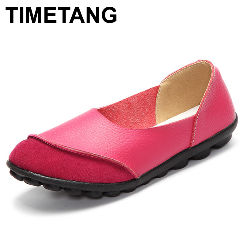 TIMETANG Spring Womens Ballet Flats Loafers Soft Leather Flat Women's Shoes Slip on Genuine Leather Ballerines Femme Chaussures 2017 new crocodile pattern women messenger bags handbags women famous brands clutch bag bolsa sac a main femme de marque celebre