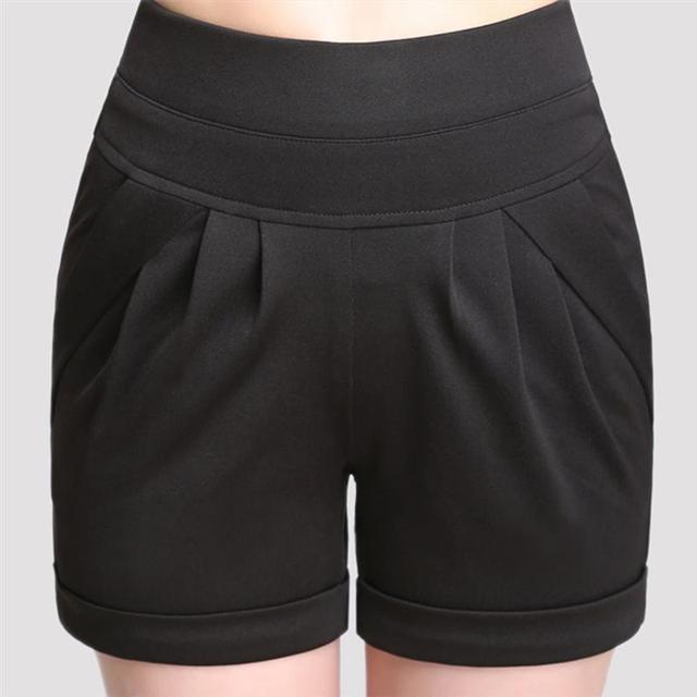Plus Size 4XL Summer Casual High Waist Women Shorts 7 Colors Elastic Waist/Pocket Leisure Streetwear Large Loose Short Trouser