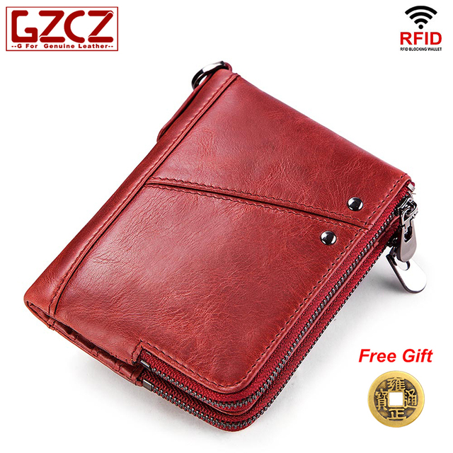 824a8674a11 GZCZ New Women's wallet card holder coin purse female wallet original leather  ladies vallets RFID card