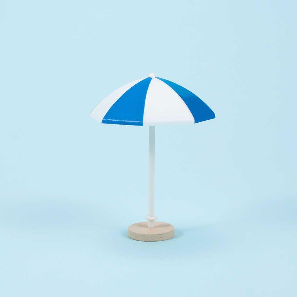 Moda 3 colores Playa Sol Mini paraguas miniatura PVC paisaje decoración moderna muñeca Accesorios