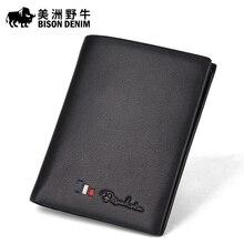 BISON DENIM High Quality Men Cowhide Wallet Genuine Leather Brand Credit Card Wallet Large Capacity Men's Wallet Free Shipping