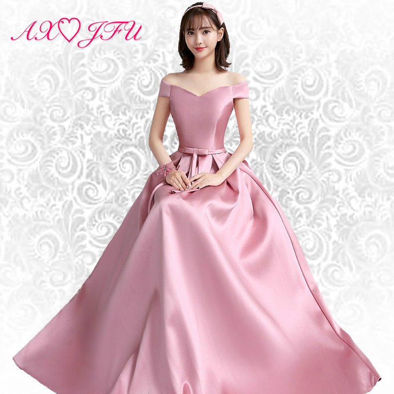 AXJFU pink bow   evening     dresses   new style spring Satin pink boat neck   evening     dress   long princess sisters   dress   C, size 16