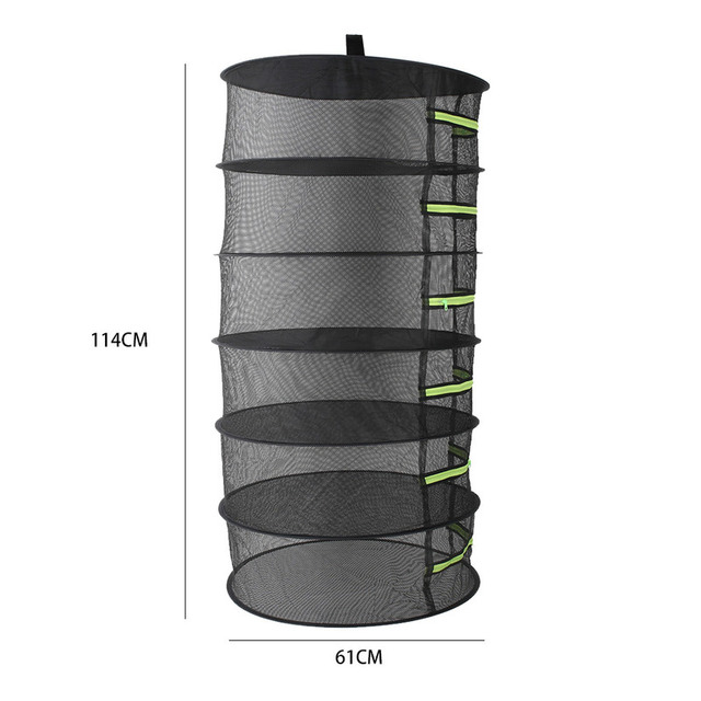6 Layers Hanging Basket with Zipper Folding Dry Rack Herb Detachable Drying Net Drying Rack Plant Flower Herbal Dry Basket