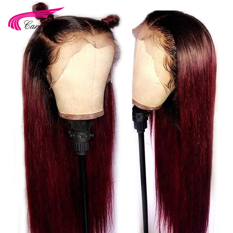 Carina Straight Pre Plucked Lace Front Human Hair Wigs With Baby Hair 360 Lace Frontal Ombre