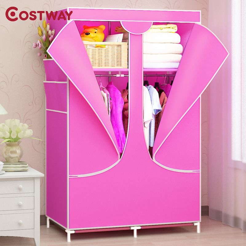 COSTWAY Bedroom Solid Color Non-woven Wardrobe Cloth Storage Saving Space Locker Closet Sundries Dustproof Storage Cabinet W104 simple fashion moistureproof sealing thick oxford fabric cloth wardrobe rustproof steel pipe closet 133d