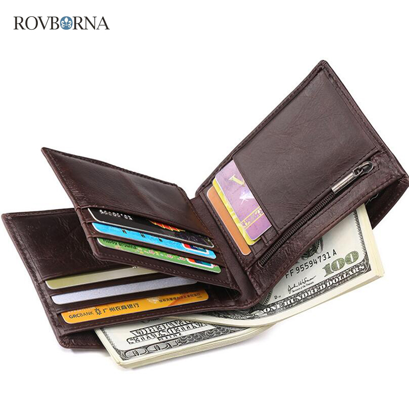 Mens Wallet Leather Genuine Business Retro Purse Short Money Card Holder Clutch Small Boys Wallets WAX PAPER Billeteras Hombre