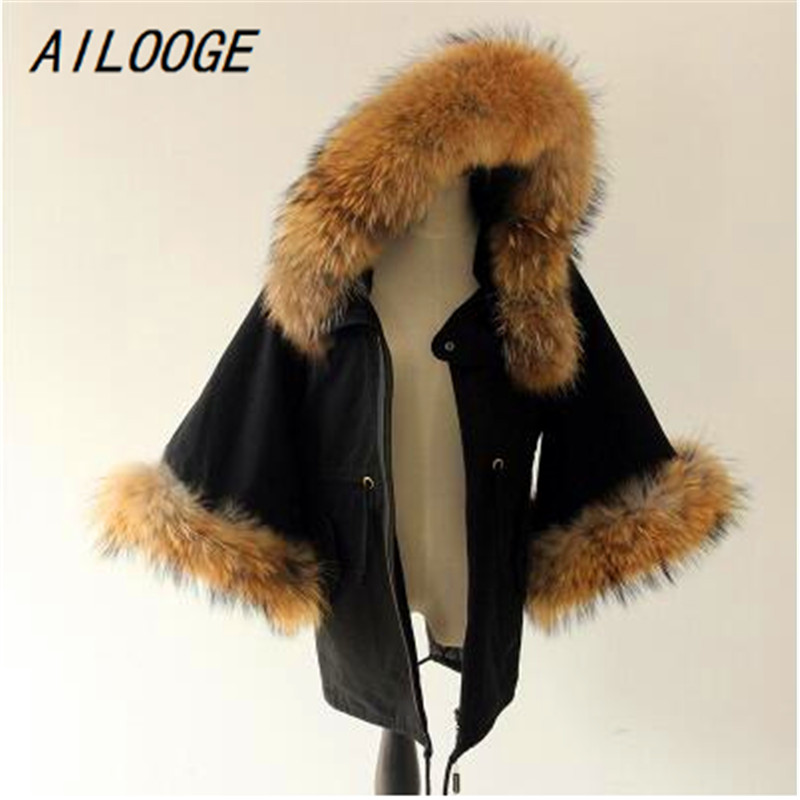 AILOOGE Women Winter Coat Jacket Raccoon Large Fur Collar Army Green Casual Overcoat Flare Sleeve Cloak Cotton-padded Outerwear 2017 winter new clothes to overcome the coat of women in the long reed rabbit hair fur fur coat fox raccoon fur collar