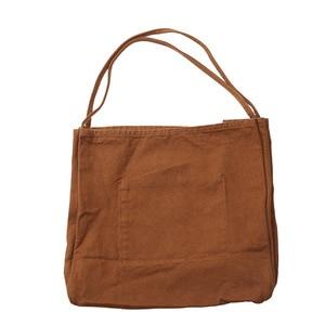 Image 4 - JIAOO Bolso de lona reutilizable para mujer, bolsas de la compra Bolso grande, bolso de mano femenino de alta capacidad, informal, bandolera de Color sólido