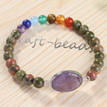 UMY Trendy Silver Plated Natural Amethyst Connect Round Unakite Beads Chakra Bracelet Charm Jewelry