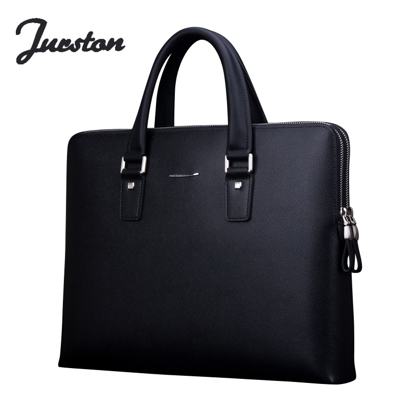 Wire man bag genuine leather double zipper handbag tote bag briefcase business bag male
