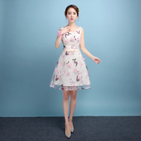 Chinese Women Elegant Long Vestido De Festa Summer Flower Butterfly Qipao Sexy Lady Wedding Bridesmaid Dress Plus Size XS 3XL