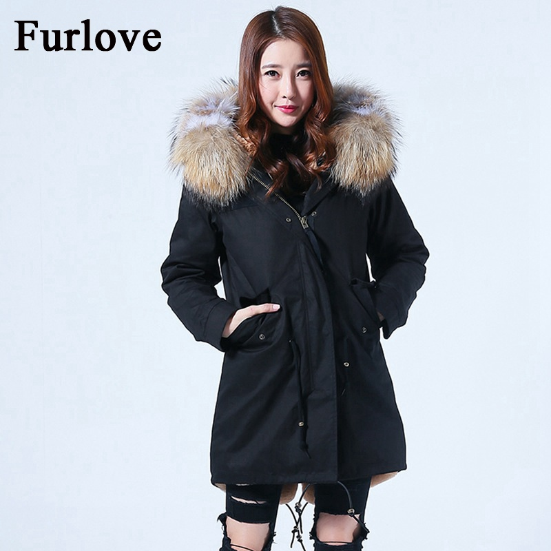 Winter Coat Women 2017 Long Jacket Warm Fur Liner Jackets Real Raccoon Fur Collar Fashion Casual Hooded Coats Thick Black Parka 2017 winter new clothes to overcome the coat of women in the long reed rabbit hair fur fur coat fox raccoon fur collar