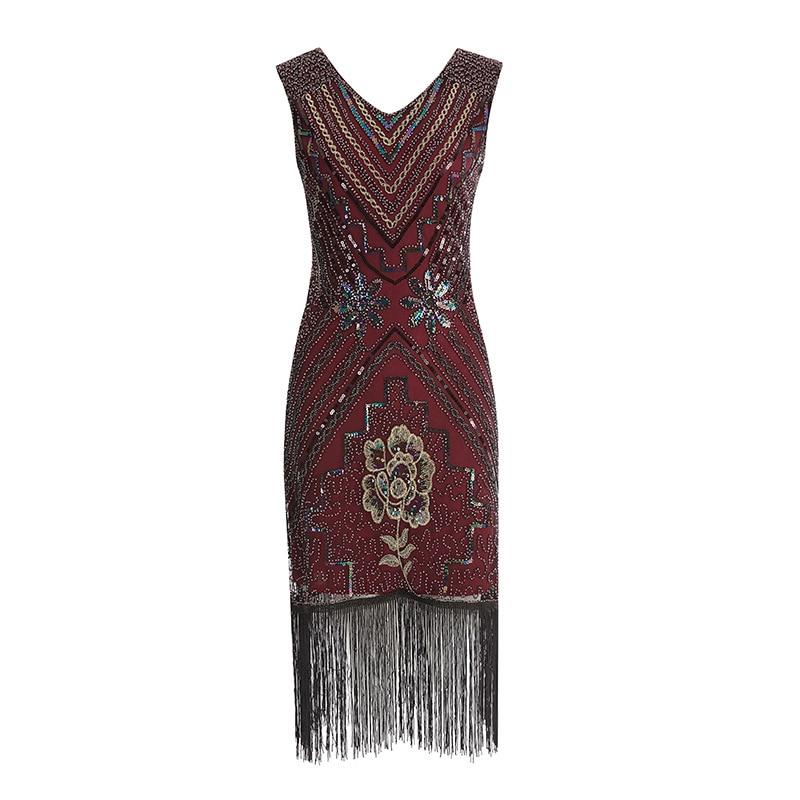 Women 1920s Flapper Dress Art Deco Great Gatsby Dress Vestidos V-Neck Sleeveless Flower Embroidered Tiered Fringe Sequin Dress