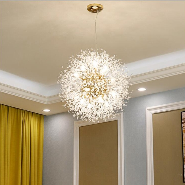 LuKLoy Super Beautiful Pendant Lamp Post Modern Chandeliers Light Dandelion Crystal LED Lighting Fixture Firework Light