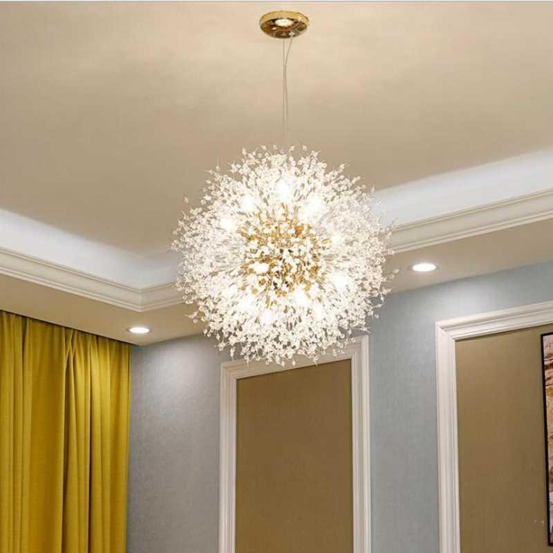 Lukloy Super Beautiful Pendant Lamp Post Modern Chandeliers Light Dandelion Crystal Led Lighting Fixture Firework