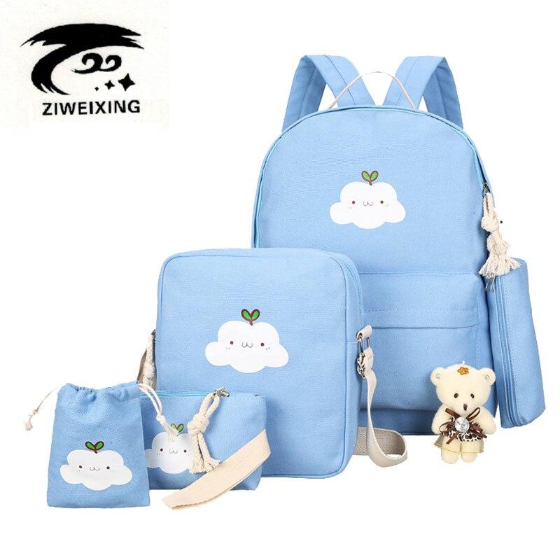 ZIWEIXING Canvas Backpacks Clouds Printing Women Backpack High Quality School Bags For Teenage Girls Cute Bookbags