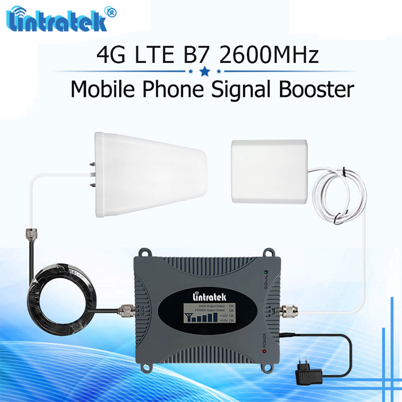 Lintratek 4G B7 FDD 2600mhz Cellphone Signal Booster 65dB Gain LTE Internet 2600 Cellular Repeater Amplifier 4G Antenna Set#5Lintratek 4G B7 FDD 2600mhz Cellphone Signal Booster 65dB Gain LTE Internet 2600 Cellular Repeater Amplifier 4G Antenna Set#5
