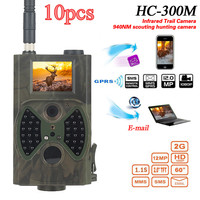 Skatolly 10pcsHC300M Hunting Trail Camer MMS GPRS Email 940nm Infrared Wild Camera 12MP 1080P Night Vision