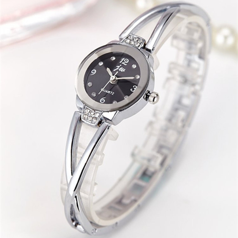 Dress Watches Clock Quartz Rhinestone Stainless-Steel Gold New-Fashion Ladies Luxury
