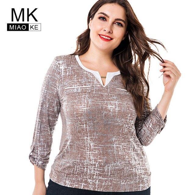 2122fdbd82516 Miaoke Women s Plus Size T-shirts 2018 autumn new seven-point sleeves  bronzing round neck tops 4XL 5XL 6XL