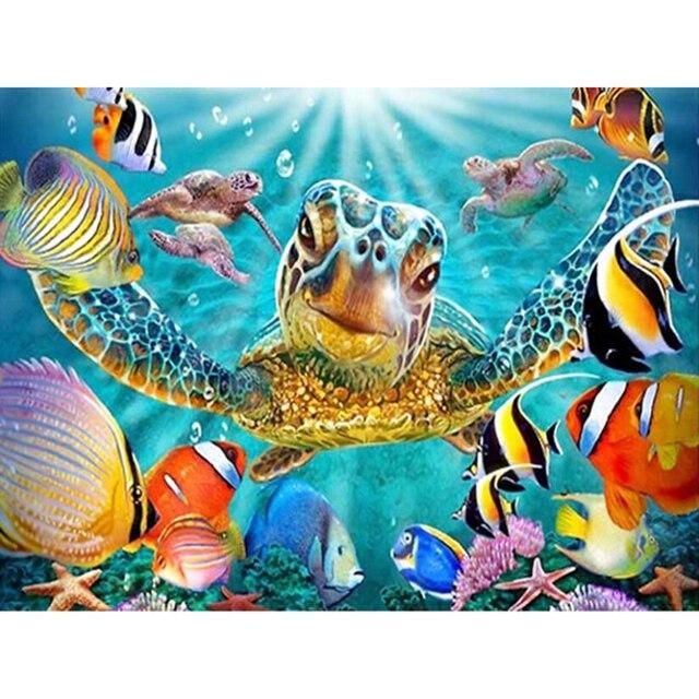 df868998a DIY 5D diamante mosaico 5D full Diamond pintura mar tortuga y peces Cruz  puntada kits diamantes