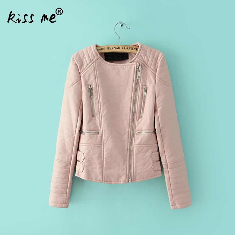 New Arrival Women Pink Leather Jacket Fashion Slim Women Tops Long Sleeve Zipper PU Leather Jackets Chaqueta Mujer Solid S M L jenni new pink solid ruffled chemise l $39 5 dbfl