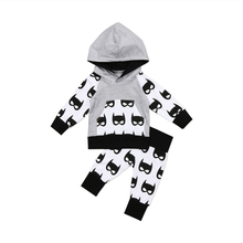 Emmaaby/Новые Модные осенние Топы с капюшоном для новорожденных мальчиков, штаны, комплект одежды с Бэтменом