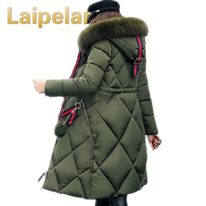 Big Fur Winter Coat Thickened Parka Women Stitching Slim Long Winter Coat Down Cotton Ladies Down