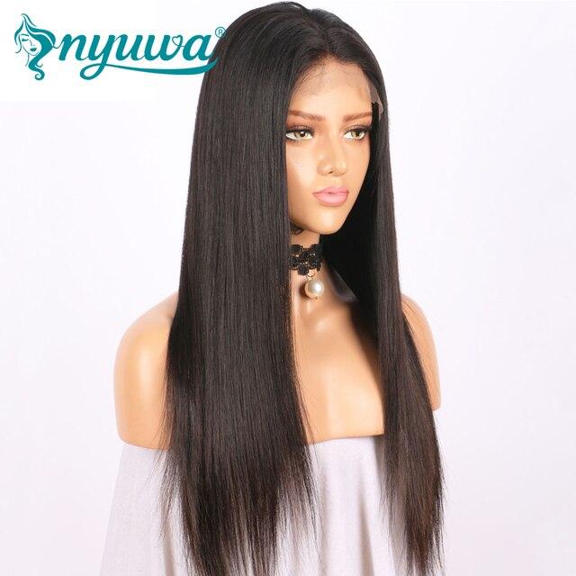 NYUWA Droite Avant de Lacet Perruques de Cheveux Humains Pré Pincées Avec bébé Cheveux Sans Colle Avant de Lacet Perruques Noeuds Blanchis Brésiliens Remy cheveux 2