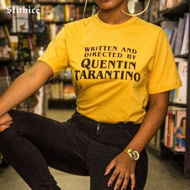 381e9de5be096 Camisetas sexis de moda de Slithice Quentin Tarantino Tops de ...