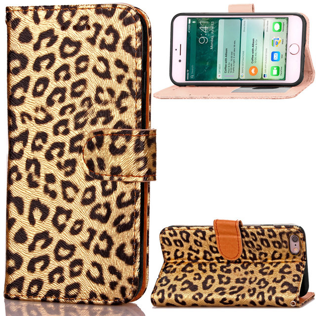 best authentic 6817c 91b7d US $6.64 5% OFF|4.7 inch Sexy Women Leopard Print Wallet for iPhone 6 6s  Case Covers Flip TPU Leather Cases Black Stand Cover iPhone6 iPhone6s-in ...